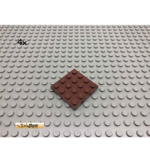LEGO® 4Stk 4x4 Platte Bauplatte Brick Rotbraun, Reddish Brown 3031 45