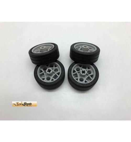 Lego 4x Reifen mit Felgen hellgrau 36.8x14 ZR