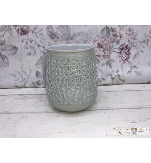 Deko Teelicht Windlicht Tischdekoration Teelichthalter weiß grün Shabby