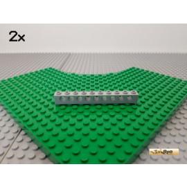 LEGO® 2Stk Technic Lochstein 1x10 neu-hellgrau 2730