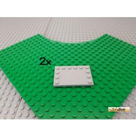 LEGO® 2Stk Platte / Fliese modifiziert 4x6 neu-hellgrau 6180