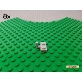 LEGO® 8Stk Platte 1x2 modifiziert mit Haken / Stab / Stange neu-hellgrau 4623