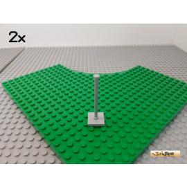 LEGO® 2Stk Fahnenmast / Ständer 6 lang mit 2x2 Platte neu-hellgrau 30256
