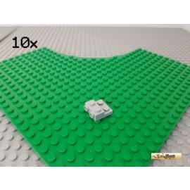 LEGO® 10Stk Platte 2x2 modifiziert mit 2 Noppen seitlich neu-hellgrau 99206