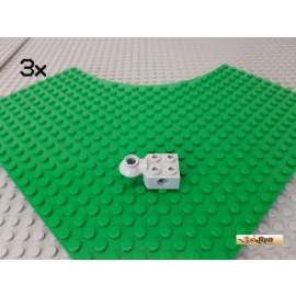 LEGO® 3Stk Technic Stein 2x2 modifiziert Gelenk / Rotation neu-hellgrau 48170