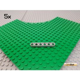LEGO® 5Stk Technic Liftarm flach 6 loch neu-hellgrau 32063