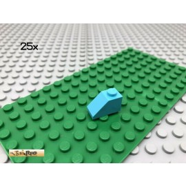 LEGO® 25Stk 1x2 Dachsteine Schrägsteine Basic Classic Hellblau 3040