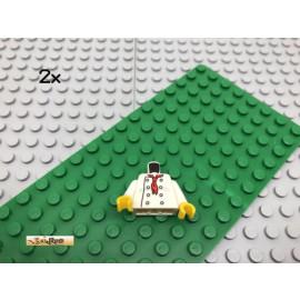 LEGO® 2Stk Minifigur Oberkörper Koch Weiß White Bedruckt
