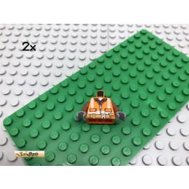 LEGO® 2Stk Minifigur Oberkörper Bauarbeiter Straßenarbeiter Orange