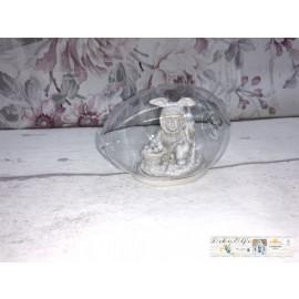 Clayre & Eef Kind im Hasenkostüm Osterhase Osterei Glas klein