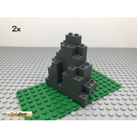 LEGO® 2Stk 3x8 Felsen Berg Mauer Rock Dunkel Grau, Dark Gray 6083