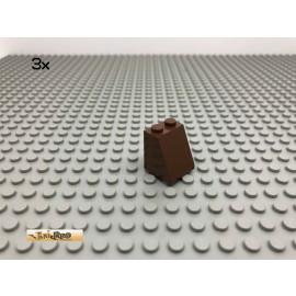 LEGO® 3Stk 2x2x2 65° Dach schräg Stein ohne Röhre unten Braun, Brown 3678 68