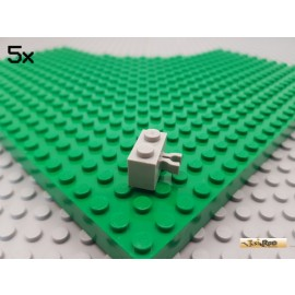 LEGO® 5Stk Stein 1x2 mit vertikal Clip alt-hellgrau 30237