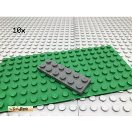 LEGO® 10Stk 2x6 Platte Basisplatte Plate Dunkel Grau, Dark Gray 3795