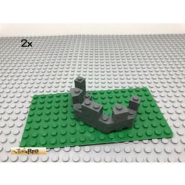 LEGO® 2Stk 4x8x2 Mauerteil Ritter Burgzinne Grau, Dark Gray 6066