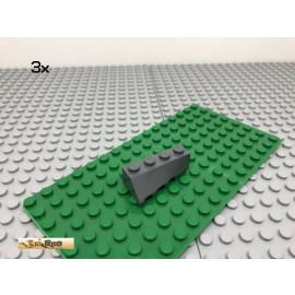 LEGO® 3Stk 2x4 Keilstein Schrägstein angeschrägt Dunkel Grau, Dark Gray 43720