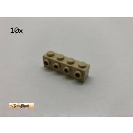 LEGO® 10Stk 1x4x1 mit 4 Noppen seitlich Basic Brick Beige, Tan 30414 ac