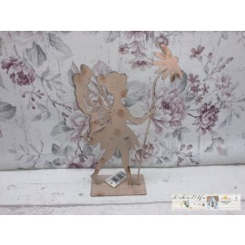 Deko Elfe mit Blume Rosa Metall Shabby Vintage