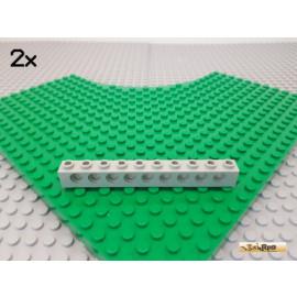 LEGO® 2Stk Technic Lochstein 1x10 alt-hellgrau 2730