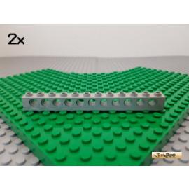 LEGO® 2Stk Technic Lochstein 1x12 alt-hellgrau 3895