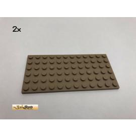 LEGO® 2Stk 6x12 Basic Platte Brick Dunkelbeige, Dark Tan 3028 52