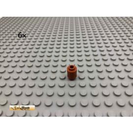 LEGO® 6Stk 1x1 Stein Rund Dunkelorange, Braun Orange 3062 49