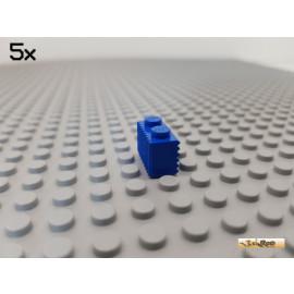 LEGO® 5Stk Stein 1x2 modifiziert mit Rillen vertikal / horizontal blau 2877