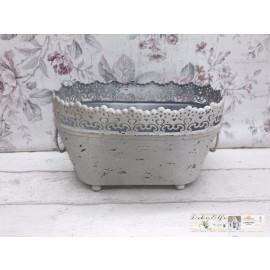 Pflanzen schale Metall Vintage Shabby chic Landhaus Blumentopf Weiß
