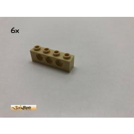 LEGO® 6Stk 1x4x1 Technic Lochstein Basic Brick Beige, Tan 3701 al