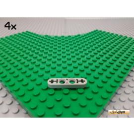 LEGO® 4Stk Technic Liftarm flach 1x4 2 Kreuz / 2 Pin alt-hellgrau 32449