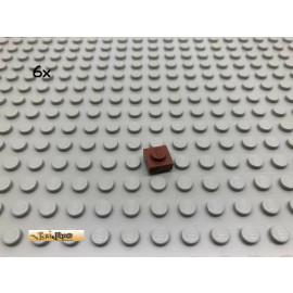LEGO® 6Stk 1x1 Platte flach Brick Rotbraun, Reddish Brown 3024 100