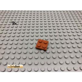 LEGO® 9Stk 2x2 Platte Dunkelorange, Braun Orange 3022 19