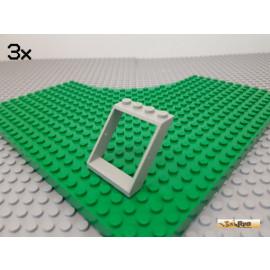LEGO® 3Stk Fensterrahmen / Fenster ohne Glas 4x4x3 alt-hellgrau 4447
