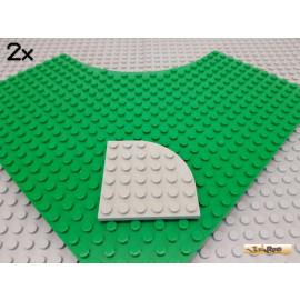 LEGO® 2Stk Platte / Eckplatte / Viertelkreis 4x4 alt-hellgrau 6003