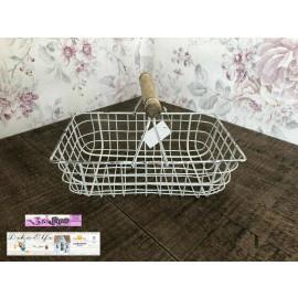 Shabby Vintage Drahtkörbchen Korb aus Metall weiß Landhaus
