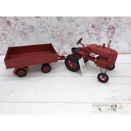 Clayre & Eef Deko Traktor mit Anhänger Metall Vintage