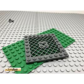 LEGO® 8Stk 8x8 Platte Gitter Flach Dunkel Grau,Dark Gray 4151