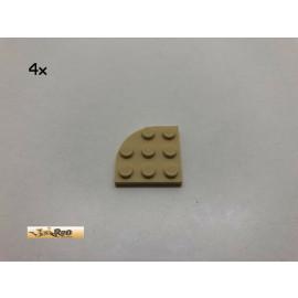 LEGO® 4Stk 3x3 Platte abgerundet Basic Brick Beige, 30357 bd