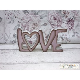 Dekoration Schriftzug Love Shabby rosa Keramik Vintage Nostalgisch