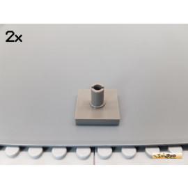 LEGO® 2Stk Platte 2x2 mt Pin für Rotor alt-dunkelgrau 2460