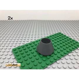 LEGO® 2Stk 4x4x2 Kegel Zylinder Burg Turm Dunkel Grau, Dark Gray 4742