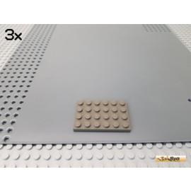 LEGO® 3Stk Platte 4x6 Basic alt-dunkelgrau 3032