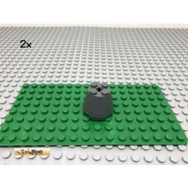 LEGO® 2Stk 3x3x2 Zylinder Turmspitze Kegel Grau, Dark Gray 6233