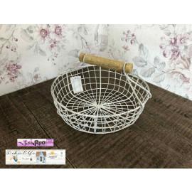 Shabby Vintage Drahtkörbchen Korb aus Metall Landhaus weiß