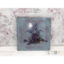 Blechschild Nostalgisch Hellblau Lavendel Vintage Landhaus