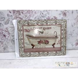 Blechschild Nostalgisch Badewanne alt Vintage Rosen Landhaus Badezimmer