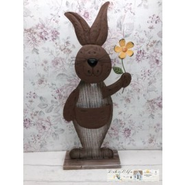 Gilde Osterhase Holz/Metall Hase Ostern braun