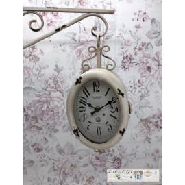 Deko Uhr zum Hängen Oval Rund Shabby Dekoration Vintage Landhaus