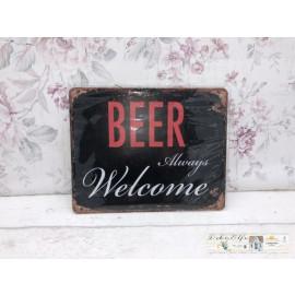 Willkommen Schild Beer always Welcome Vintage Landhaus