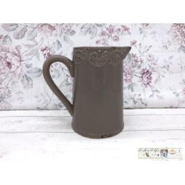 Deko Blumentopf Kanne Krug Vase Blumenvase Shabby Vintage braum